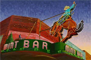"Michael Blessing Hand Signed and Numbered Limited Edition Canvas Giclee :""Whiskey Before Breakfast"""