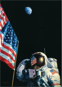 "Alan Bean Astronaut Signed Limited Edition Canvas Giclee:""Armstrong Heads Beyond the Boulders"""