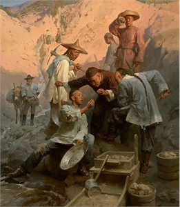 "Mian Situ Hand signed and Numbered Limited Edition Giclée Canvas:""The Gold Nugget,Chinese Camp, 1850"""
