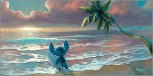 """Rob Kaz Artist Signed and Numbered Hand Embellished Limited Edition Giclee on Canvas:""""Waiting for Waves"""""""
