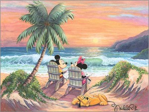 "Michelle St. Laurent Artist Signed and Numbered Hand Embellished Limited Edition Giclee on Canvas:""Vacation Paradise"""