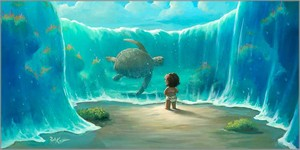 "Rob Kaz Artist Signed and Numbered Hand Embellished Limited Edition Giclee on Canvas:""Moana's New Friend"""