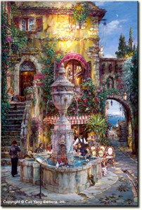 "Cao Yong Limited Edition Hand Embellished (H/E) Archival Print on Canvas : ""Twilight by the Fountain"""
