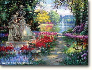 """Cao Yong Limited Edition Hand Embellished (H/E) Archival Print on Canvas :""""Garden Splendor"""""""