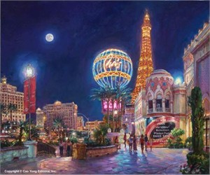 """Cao Yong Limited Edition Hand Embellished (H/E) Archival Print on Canvas :""""Paris, Las Vegas"""""""