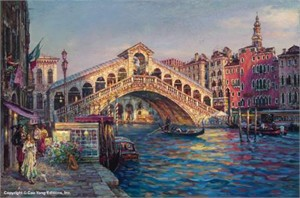 "Cao Yong Limited Edition Hand Embellished (H/E) Archival Print on Canvas :""Ponte Di Rialto, Venice"""