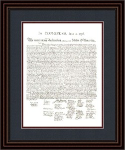 "Founding Fathers Framed Art: ""Declaration of Independence Document"""