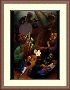 """Justin Bua Framed Art Print:""""Jazz Quintet  """""""