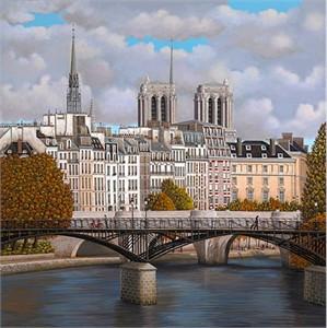 "Liudmila Kondakova Hand-Pulled Serigraph on Canvas:""Paris"""