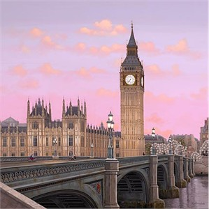 "Liudmila Kondakova Hand-Pulled Serigraph on Canvas:""London"""
