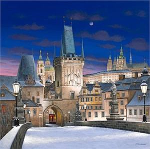 "Liudmila Kondakova Hand-Pulled Serigraph on Canvas:""Prague"""