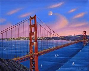 "Liudmila Kondakova Hand-Crafted Lithograph on Paper:""Golden Gate"""