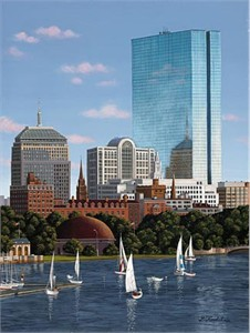 "Liudmila Kondakova Hand-Crafted Lithograph on Paper:""Sailboat Harbor Boston"""