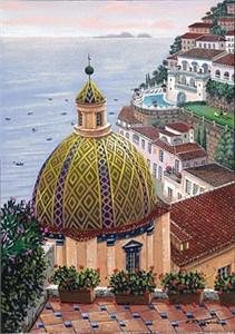 "Liudmila Kondakova Hand-Crafted Lithograph on Paper:""Santa Maria Assunta"""
