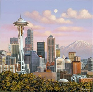 "Liudmila Kondakova Hand-Crafted Lithograph on Paper:""Seattle Skyline"""