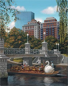 "Liudmila Kondakova Hand-Crafted Lithograph on Paper:""Swan Ferry Boston"""