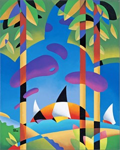 """René Lalonde Limited Edition Hand Pulled Serigraph:""""Sailing at Sunset"""""""
