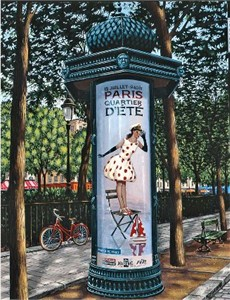 """Liudmila Kondakova Handsigned and Numbered Limited Edition Serigraph on Gesso Board:""""Le Kiosque"""""""