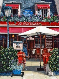 "Liudmila Kondakova Handsigned and Numbered Limited Edition Serigraph on Gesso Board:""Le Petit Châtelet"""