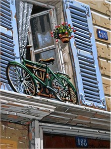 "Liudmila Kondakova Handsigned and Numbered Limited Edition Hand-Crafted Stone Lithograph: ""188 Rue de Marcine"""