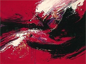 "Seikichi Takara Handsigned and Numbered Limited Edition Serigraph on Paper: ""Red Karma"""
