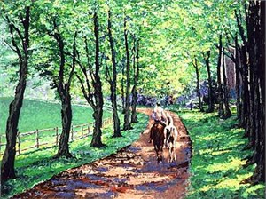 "Mark King Handsigned and Numbered Limited Edition Hand-Pulled Serigraph on Paper: ""Pasture Lane"""