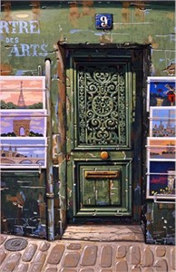 "Liudmila Kondakova Handsigned and Numbered Limited Edition Hand-Crafted Stone Lithograph: ""The Green Door"""