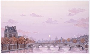 """Liudmila Kondakova Handsigned and Numbered Limited Edition Hand-Crafted Stone Lithograph: """"L'automne du Paris"""""""
