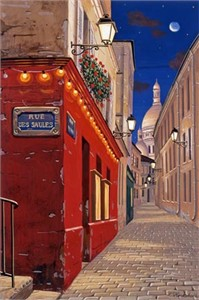 "Liudmila Kondakova Handsigned and Numbered Limited Edition Hand-Crafted Stone Lithograph: ""Rue des Saules"""