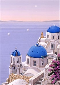 "Liudmila Kondakova Handsigned and Numbered Limited Edition Hand-Crafted Stone Lithograph: ""Santorini Dawn"""