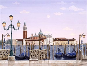 "Liudmila Kondakova Handsigned and Numbered Limited Edition Hand-Crafted Stone Lithograph: ""Venetian Dawn"""