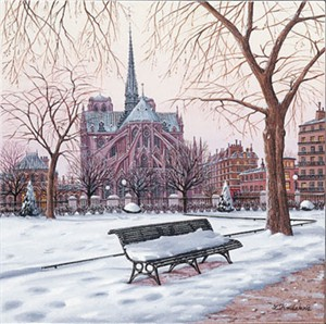 "Liudmila Kondakova Handsigned & Numbered Limited Edition Serigraph on Canvas:""Postcards form Paris -Notre Dame in Winter"""