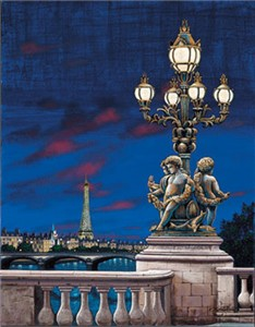 "Liudmila Kondakova Handsigned & Numbered Limited Edition Serigraph on Canvas:"" Postcards from Paris-Pont Alexandre"""