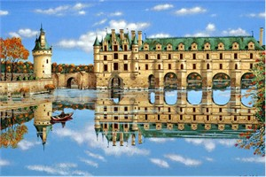 "Kondakova Handsigned and Numbered Limited Edition :Serigraph on Koji Japon Paper:""Chenonceaux (Chateaux Suite)"""