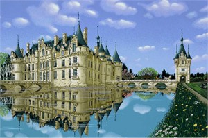 "Kondakova Handsigned and Numbered Limited Edition :Serigraph on Koji Japon Paper:""Esclimont (Chateaux Suite)"""