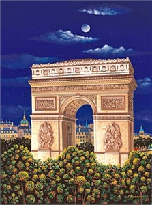 "Kondakova Handsigned and Numbered Limited Edition :Serigraph on Gesso Board:""Arc de Triomphe (Toujours Paris! Suite)"""