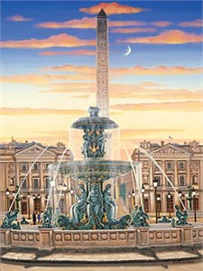 "Kondakova Handsigned and Numbered Limited Edition Serigraph on Gesso Board:""Place de la Concorde"""