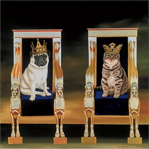 """Robert Deyber Artist Signed Limited Edition Hand-crafted Stone Lithograph:""""Reigning Cats and Dogs"""""""