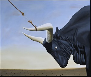 "Robert Deyber Artist Signed Limited Edition Hand-crafted Stone Lithograph:"" Bull by the Horns, I've Got the,"""