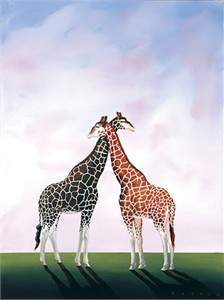 """Robert Deyber Artist Signed Limited Edition Hand-crafted Stone Lithograph:""""Neck and Neck"""""""
