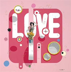 """Philippe Bertho Artist Hand Signed and Numbered Limited Edition Hand-Pulled Serigraph On Canvas: """"Love"""""""