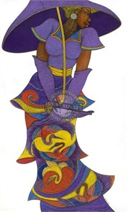 """Charles Bibbs Hand Signed and Numbered Limited Edition: """"The Purple Umbrella"""""""