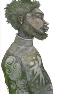 """Charles Bibbs Hand Signed and Numbered Limited Edition:""""Man With Green Hair"""""""