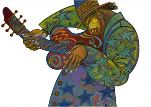 "Charles Bibbs Hand Signed and Numbered Limited Edition:""Big Man Guitar"""