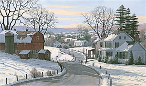"Bill Saunders Handsigned and Numbered Limited Edition Giclee on Canvas:""Sledding At Grandpa's Farm"""