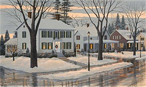 "Bill Saunders Handsigned and Numbered Limited Edition Giclee on Canvas :""The Village Inn"""