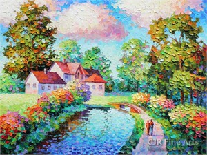 """Alexander Antanenka Hand Signed Limited Edition Hand Embellished Canvas Giclee:""""A Country Living"""""""