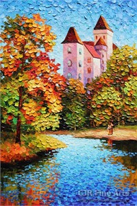 "Alexander Antanenka Hand Signed Limited Edition Hand Embellished Canvas Giclee:""A Home by the Water"""