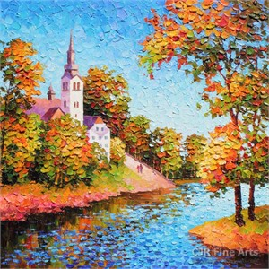 """Alexander Antanenka Hand Signed Limited Edition Hand Embellished Canvas Giclee:""""A Steeple on the Hill"""""""