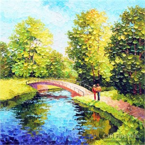 "Alexander Antanenka Hand Signed Limited Edition Hand Embellished Canvas Giclee:""A Walk in the Fresh Air"""